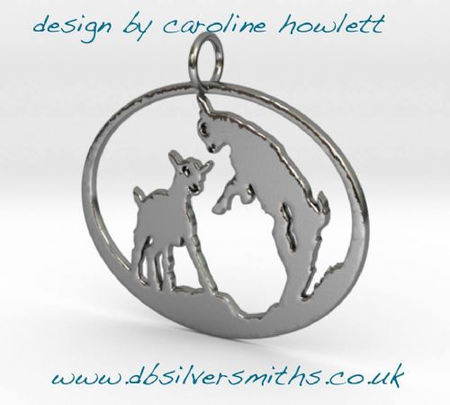 Giddy Kid goats pendant sterling silver handmade by saw piercing Caroline Howlett Design